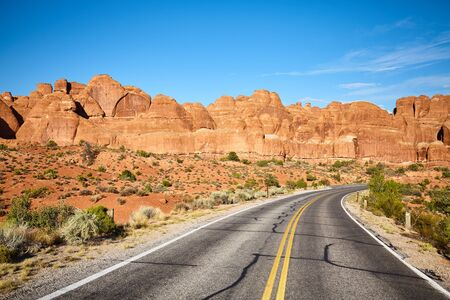Scenic road in Arches National Park, Utah, USA.