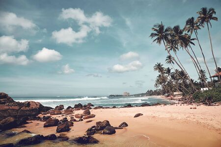 Tropical beach with rocks and coconut palm trees, color toned picture, Sri Lanka.