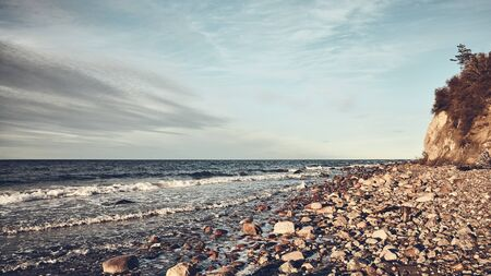 Beach in Wolin National Park, color toning applied, Poland. Stock Photo