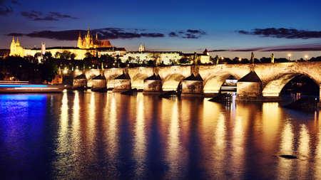 Prague cityscape, color toning applied, Czech Republic.