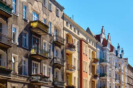Old tenement houses on Jagielonska Street in Szczecin, Poland.