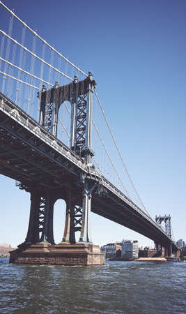 The Manhattan Bridge, color toned picture, New York City, USA.
