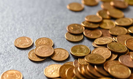 Polish one grosz coins (one hundredth of a zloty), selective focus. Standard-Bild