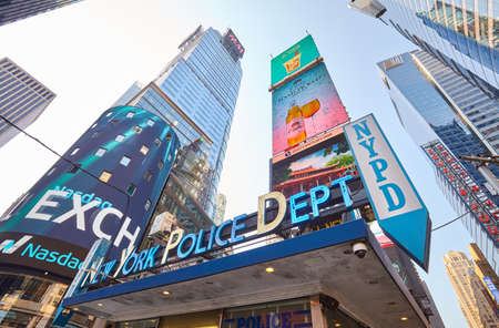 New York, USA - August 15, 2015: New York police department station at Times Square. Editorial
