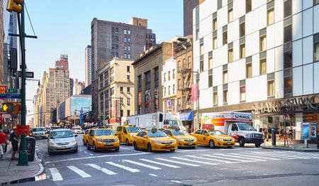 New York, USA - August 15, 2015: Cars on a street of Manhattan. Editorial