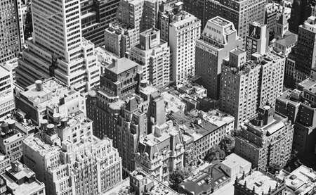 Black and white aerial view of New York City, USA.