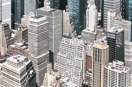 Aerial view of Manhattan diverse architecture, color toning applied, New York City, USA.