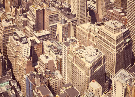 Aerial view of residential buildings in New York City, sepia color toning applied, USA.