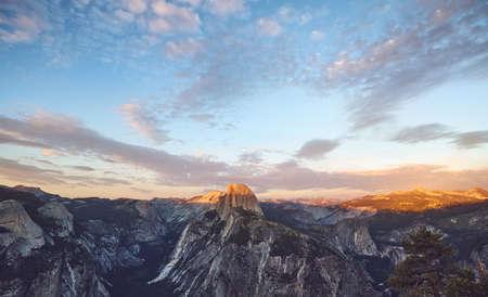 Scenic sunset above Half Dome, Yosemite National Park, USA. Stock Photo