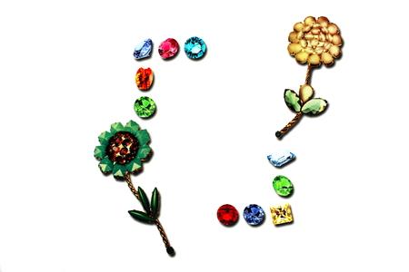 Framework of diamonds and flowers (printed)