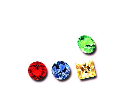 Printed diamonds on a paper sheet