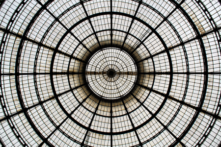 Spherical metal and glass dome seen from below Stock Photo