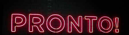 Red neon lights writing in italian (pronto) ready in english