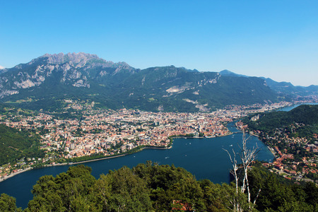 City of Lecco (Italy) seen from above and mount Resegone in the background