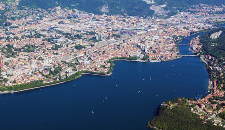 City of Lecco aerial view during summertime Stockfoto