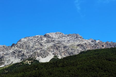 Mountain without snow partially covered by a forest against clear blue sky in summer Stockfoto