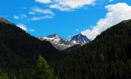 Peaks covered by snow in an alpine valley during summer