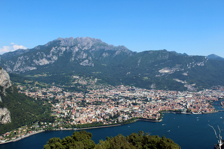 Mount Resegone and city of Lecco (northern Italy) aerial view between mountains and lake in summer Stockfoto