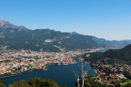 Aerial view of Lecco city between mountains lake and Adda river in northern Italy Stockfoto