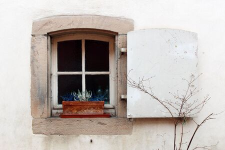 Small square window with only one white wooden shutter with a flower pot on the sill