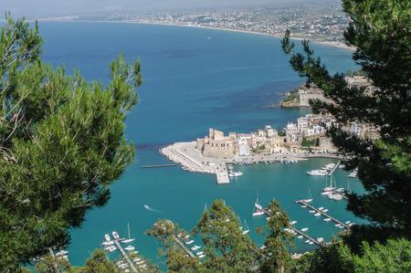 golfo: Landscape of Castellmare del Golfo in Sicily, Italy Stock Photo