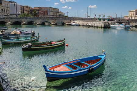siracuse: fishing boats in the harbour in Siracuse, Sicily, Italy
