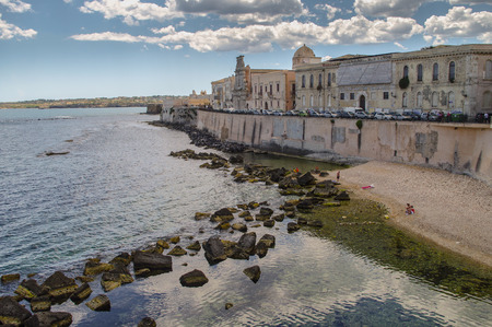 frontage: The frontage of old buildings at waterfront of Syracuse, Sicily, Italy