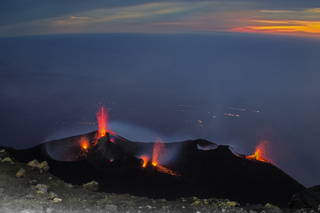 stromboli: Constantly active volcano on the island of Stromboli, Sicily, Italy
