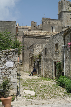 erice: historic street in town of Erice in Sicily