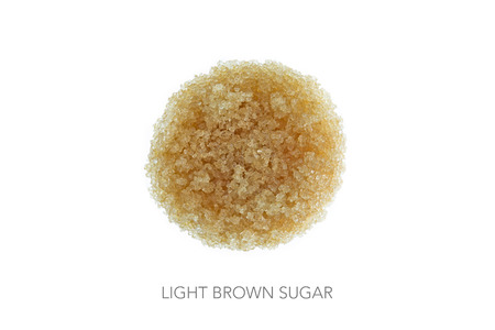 focus stacking: Food circle light brown sugar against white background