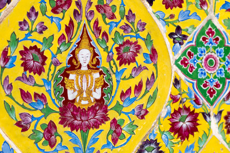 venerate: Wat rajabopit angel on the wall stock