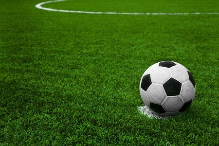 soccer field: Soccer ball on field