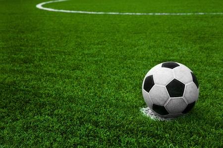 soccer grass: Soccer ball on field