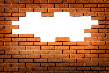 white hole in red brick wall, brick frame Stock Photo