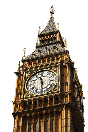 Big Ben,  London gothic architecture isolated over white background