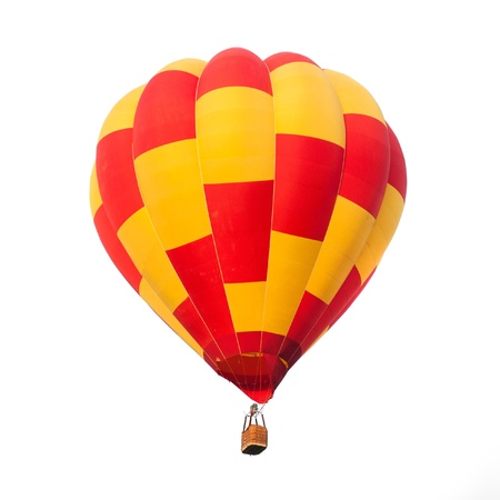 airstream: Red and yellow hot air balloon isolated on white.