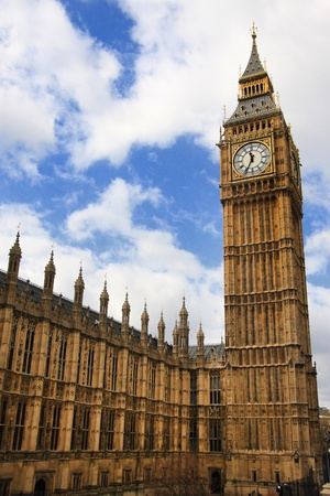 big ben clock tower with blue sky  photo