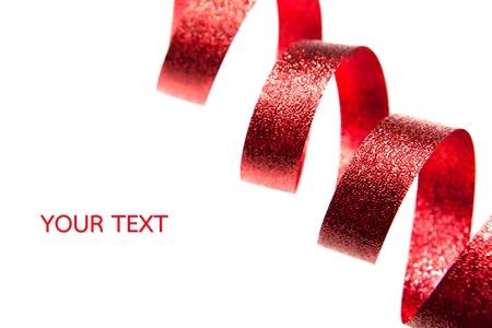 Shiny ruban rouge sur fond blanc avec espace pour le texte Banque d'images