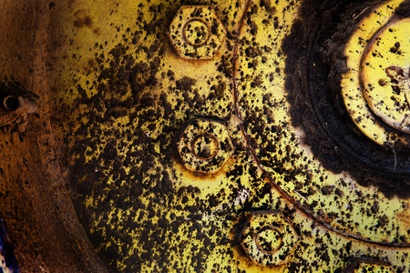 Close up to big heavy dirty tractor wheel photo