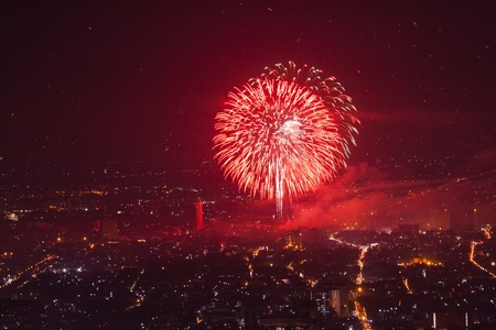 Big Red Firework over city photo