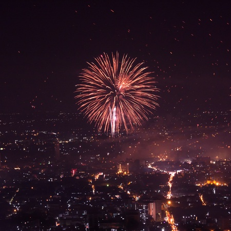 2012, Fireworks over the city in Ching Mai , Thailand