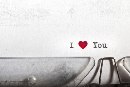 My first Love letter written on an old typewriter Stock Photo