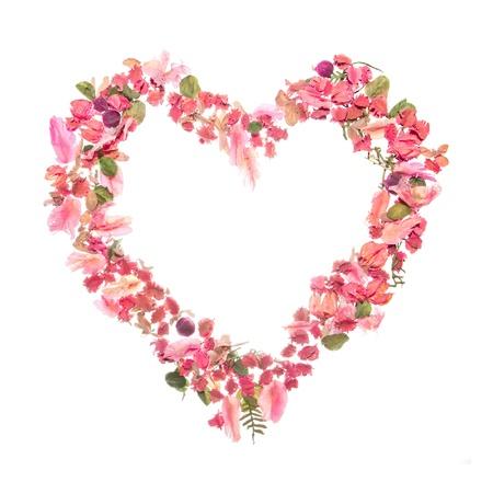 hart bloem: Mooie hart van droge rozenblaadjes op wit wordt geïsoleerd Stockfoto