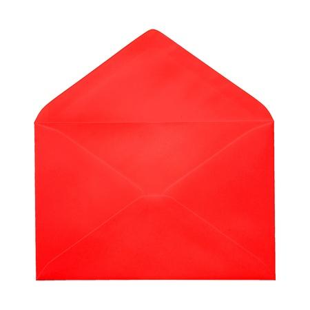 sobres para carta: Abrir un sobre marr�n sobre fondo blanco Foto de archivo