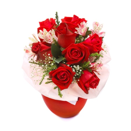 purple roses: Roses bouquet in red vase isolated on white background Stock Photo