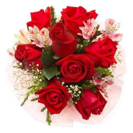mujer con rosas: ramo de rosas sobre fondo blanco