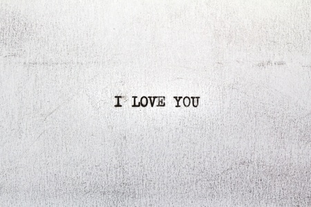 I LOVE YOU on old paper written on an old typewriter photo
