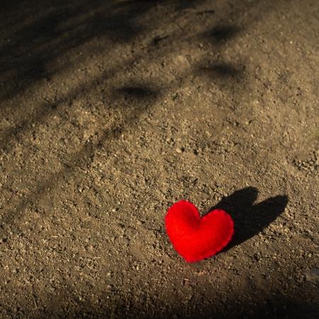 Coeur rouge couch� seul sur le terrain avec l'ombre d'attente pour l'amour