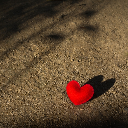 Felt: Red heart lying alone on the ground with shadow waiting for love