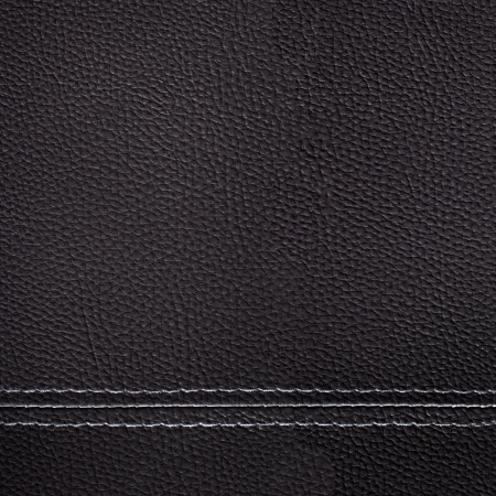 seam: Black leather sewing texture for background